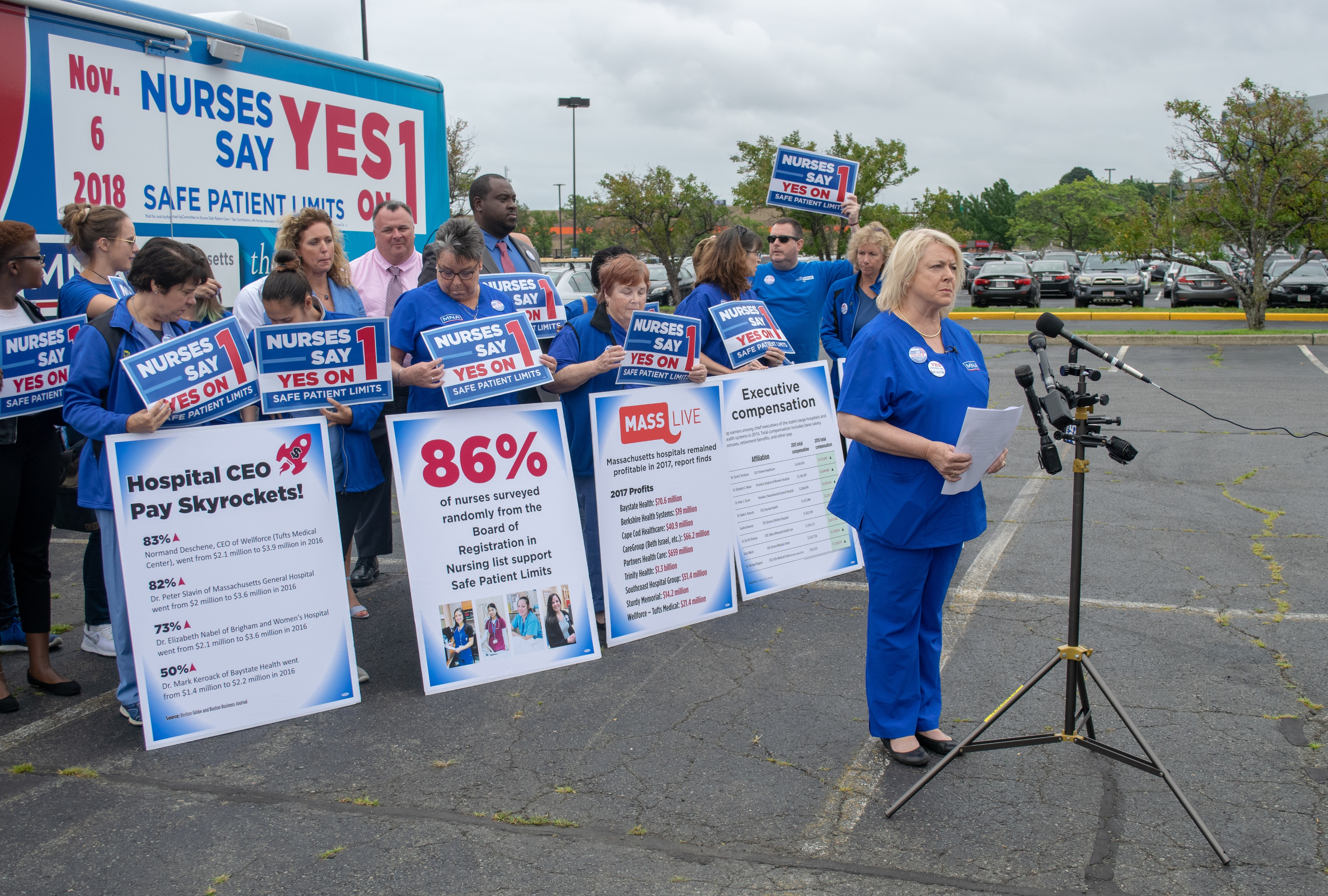 "Massachusetts Nurses Association president Donna Kelly-Williams said large health care groups like Partners HealthCare are ""deceptive."" (Chris Triunfo/SHNS)"