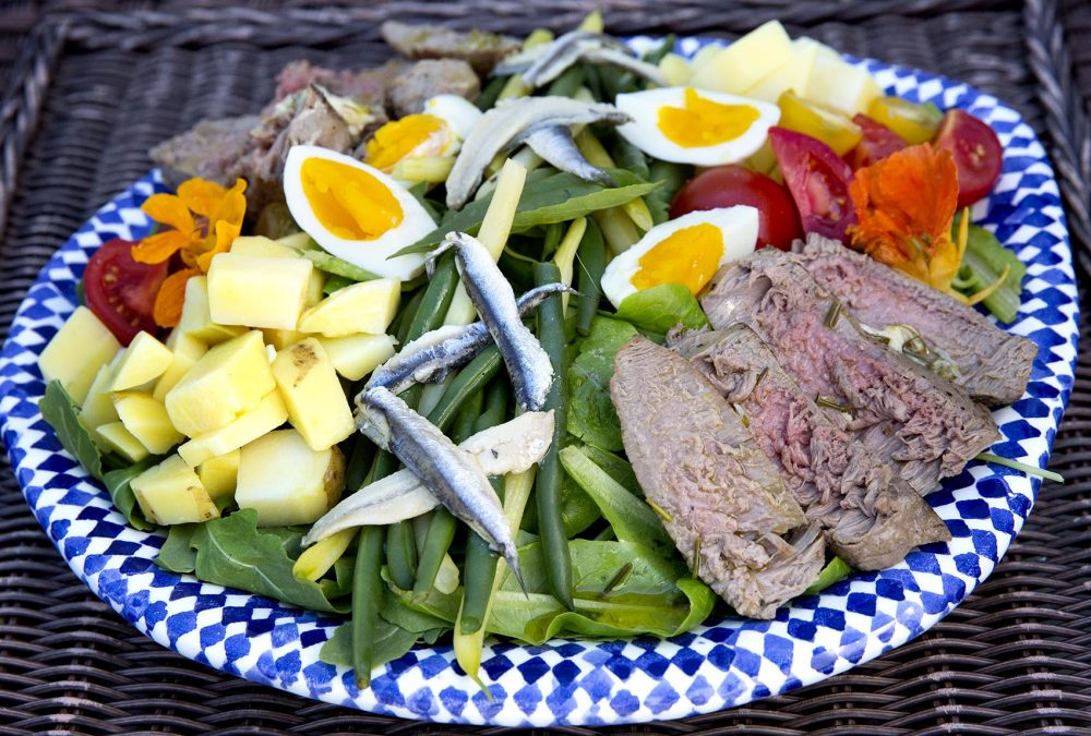 Fresh tuna garden Niçoise salad, from chef Kathy Gunst. (Robin Lubbock/WBUR)