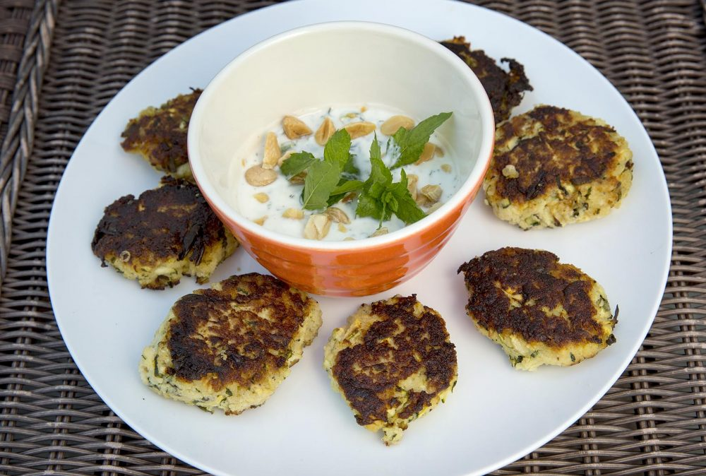 Zucchini and mint fritters, from chef Kathy Gunst. (Robin Lubbock/WBUR)
