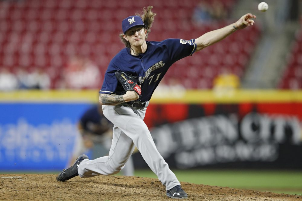 """When he was 17, Milwaukee Brewers pitcher Josh Hader sent out a tweet that said """"I hate gay people."""" (Joe Robbins/Getty Images)"""