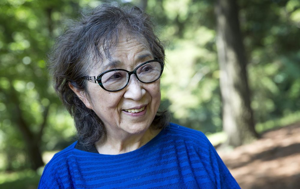 Contemporary artist Fujiko Nakaya at the Arnold Arboretum in Boston. (Robin Lubbock/WBUR)