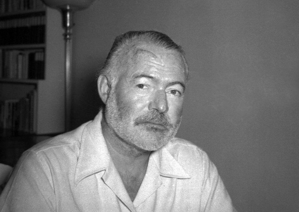 Novelist Ernest Hemingway appears at his country home in San Francisco de Paula near Havana, Cuba on Aug. 21, 1950. (AP Photo)