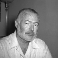 Novelist Ernest Hemingway appears at his country home in San Francisco de Paula near Havana, Cuba on Aug. 21, 1950. (AP Photo)