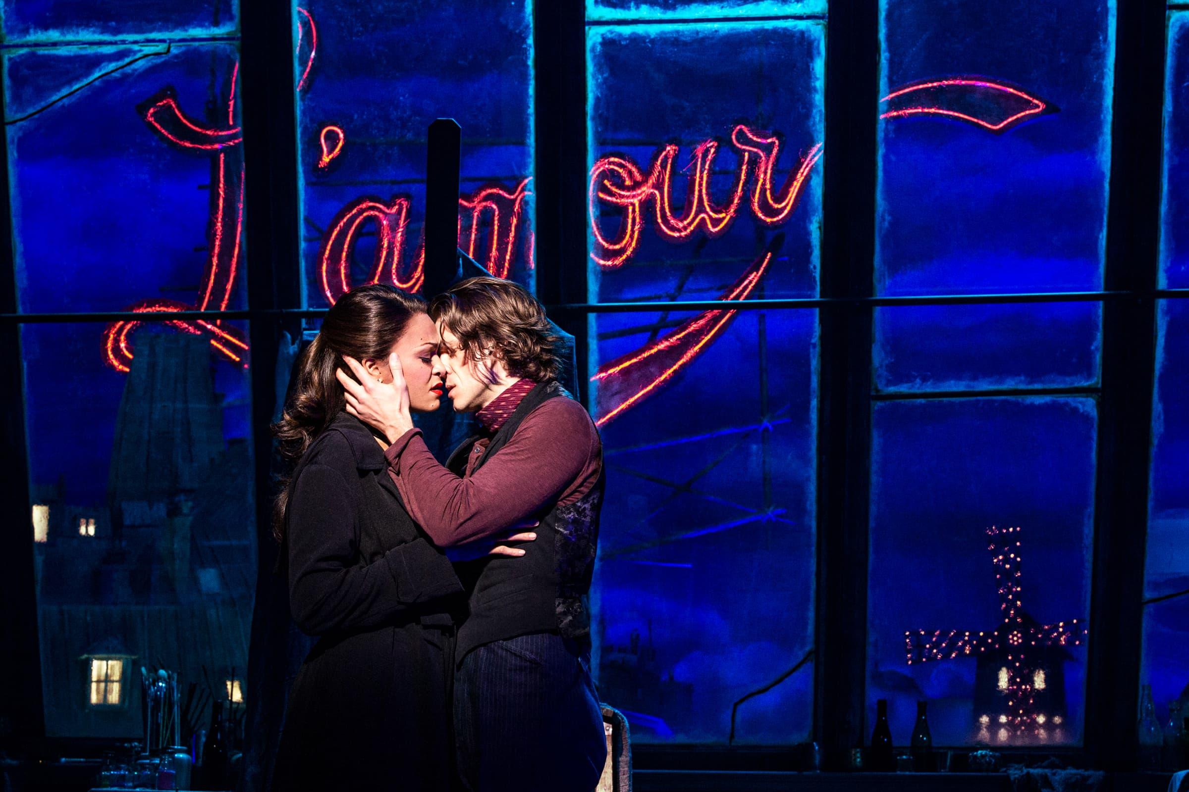 """Karen Olivo and Aaron Tveit in """"Moulin Rouge!"""" (Courtesy Matthew Murphy)"""