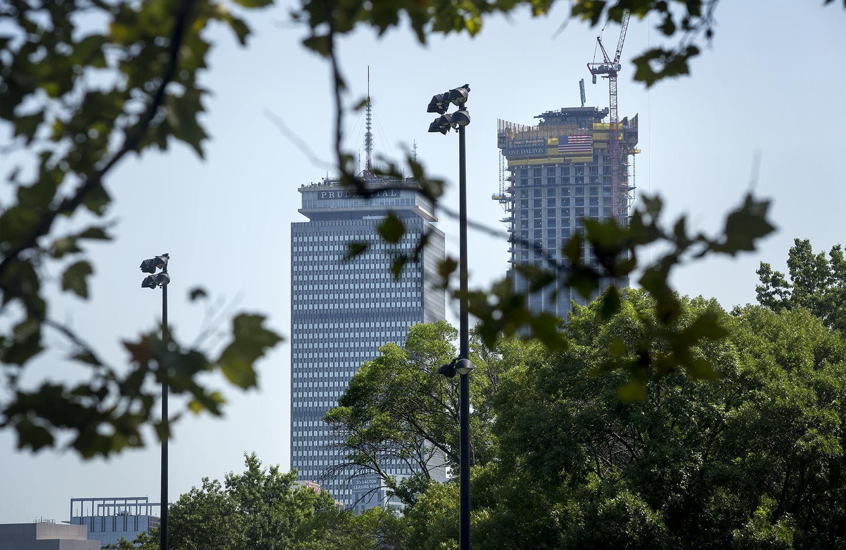 The Prudential Building, left, and One Dalton Street, seen from the Fenway (Robin Lubbock/WBUR)