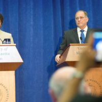 Boston City Councilor Ayanna Pressley and U.S. Rep. Mike Capuano participate in a debate at the the McCormack Graduate School of Policy and Global Studies at UMass Boston. (Robin Lubbock/WBUR)
