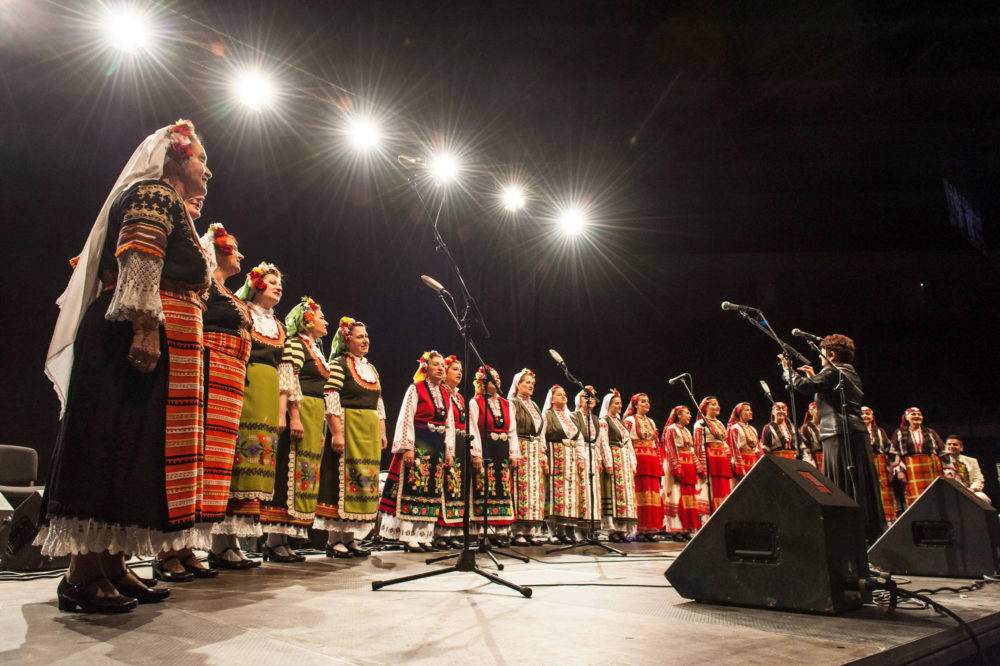 The Mystery of the Bulgarian Voices onstage during a live performance. (Daznaempoveche/Wikimedia Commons)
