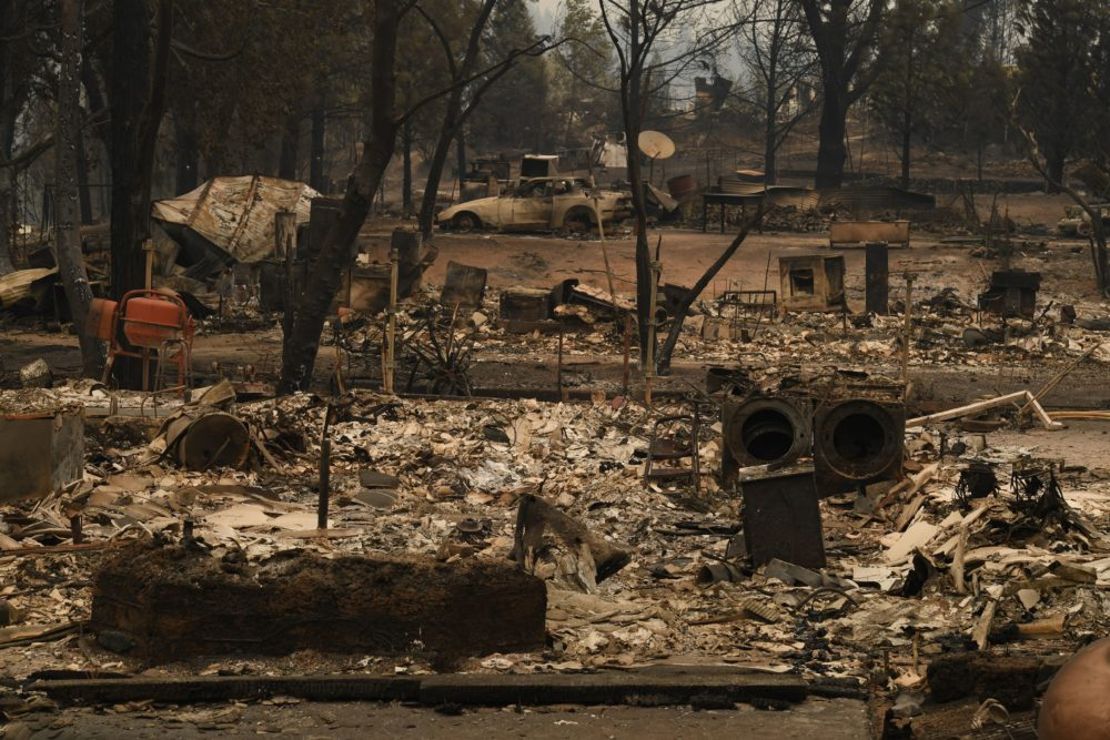 Burnt houses in the Keswick neighborhood of Redding, Calif., amid the Carr Fire on July 31, 2018. (Mark Ralston/AFP/Getty Images)
