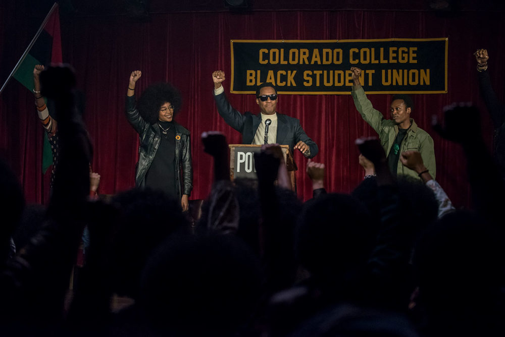 "The Black Student Union in ""BlacKkKlansman."" (Courtesy Focus Features)"