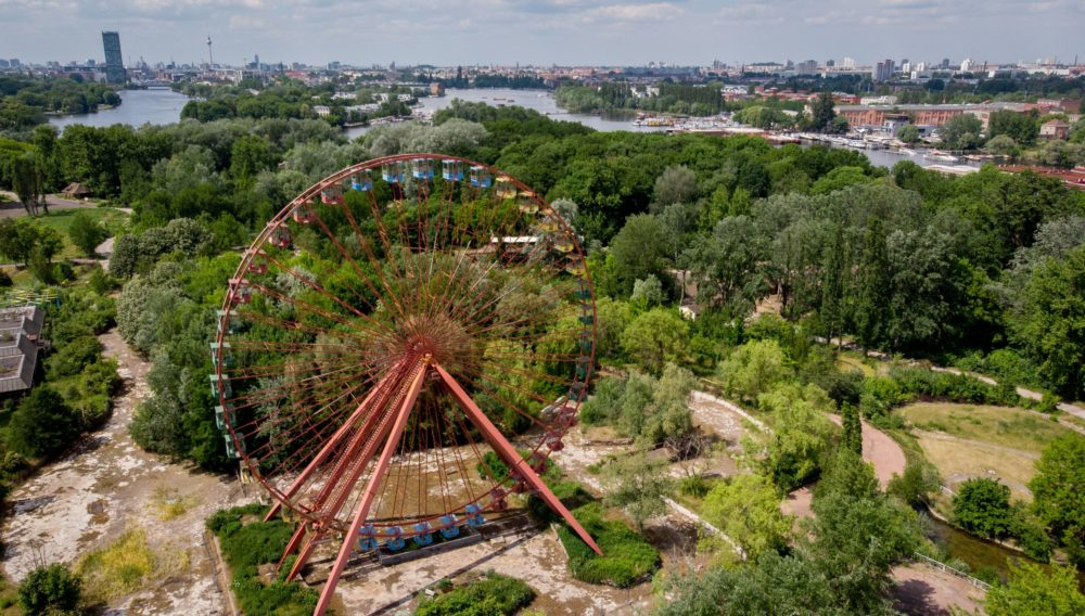 An elevated view shows a Ferris wheel at the abandoned former GDR pleasure ground Spreepark. (Kay Nietfelt/AFP/Getty Images)