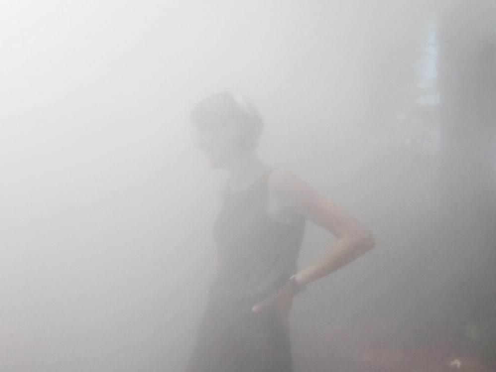 Curator Jen Mergel in the mist. (Andrea Shea/WBUR)