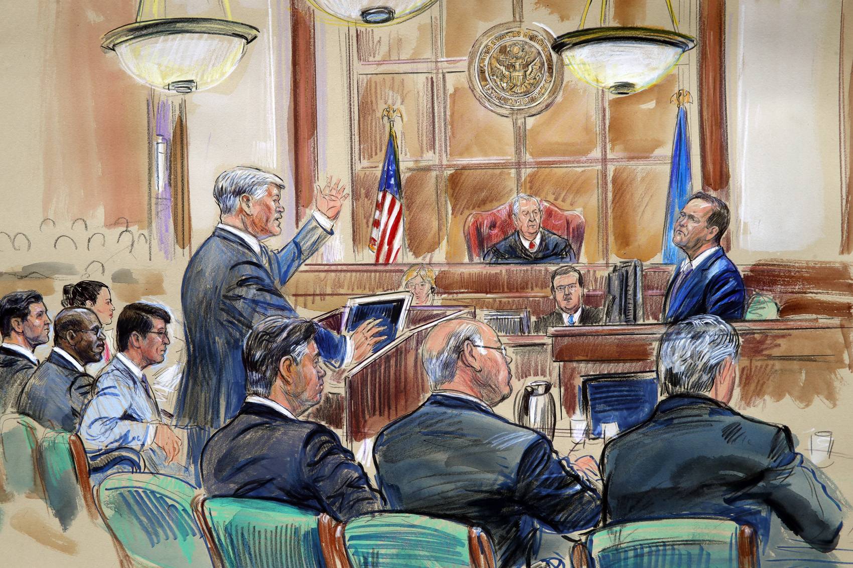 This courtroom sketch depicts defense lawyer Kevin Downing asking questions of Rick Gates, as former Donald Trump campaign chairman Paul Manafort, bottom front left, listens during Manafort's trial on bank fraud and tax evasion at federal court in Alexandria, Va., Tuesday, Aug. 7, 2018. U.S. District court Judge T.S. Ellis III presides. (Dana Verkouteren via AP)