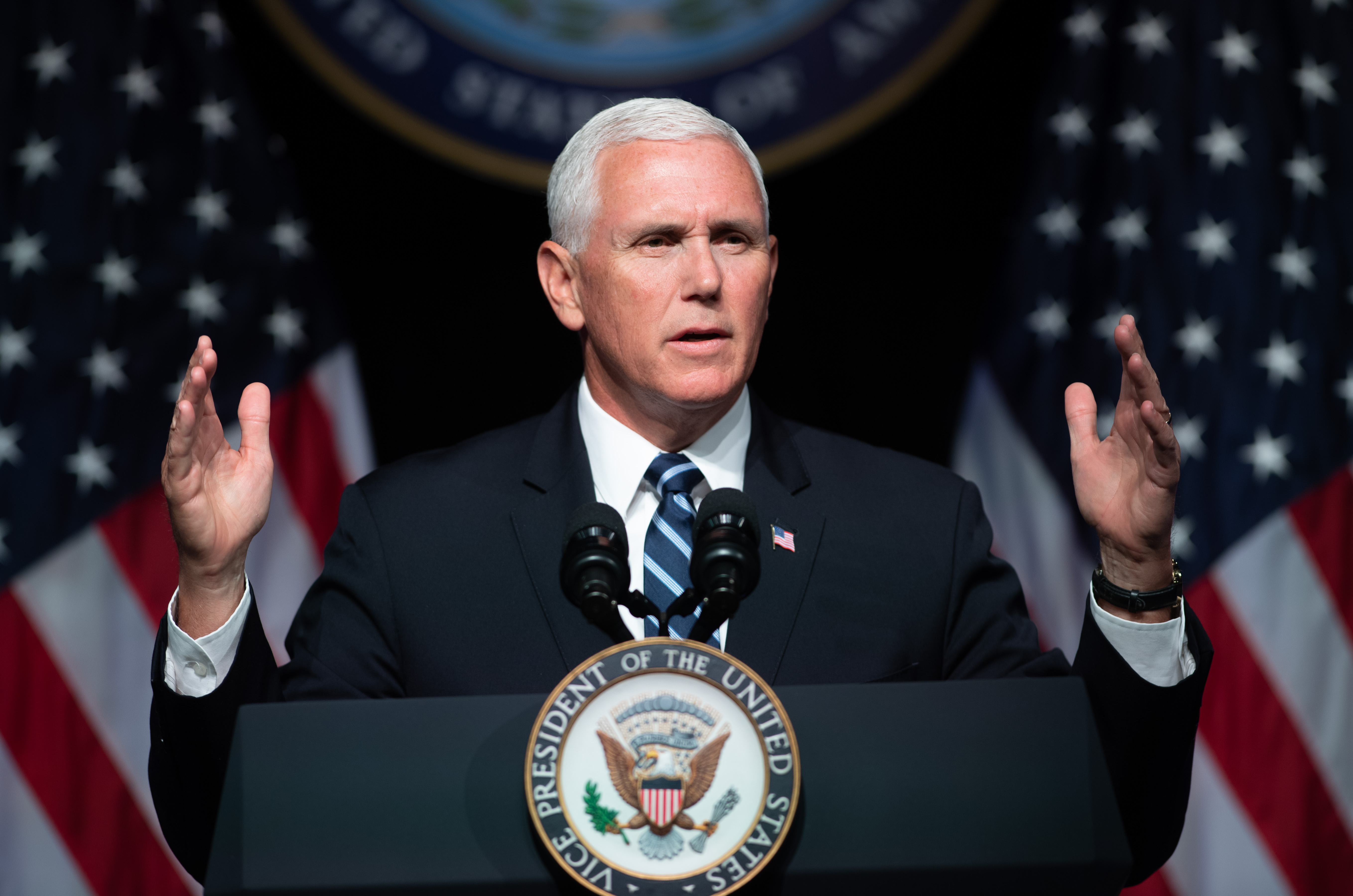 Vice President Mike Pence speaks about the creation of a new branch of the military, Space Force, at the Pentagon in Washington, D.C., on Aug. 9, 2018. (Saul Loeb/AFP/Getty Images)