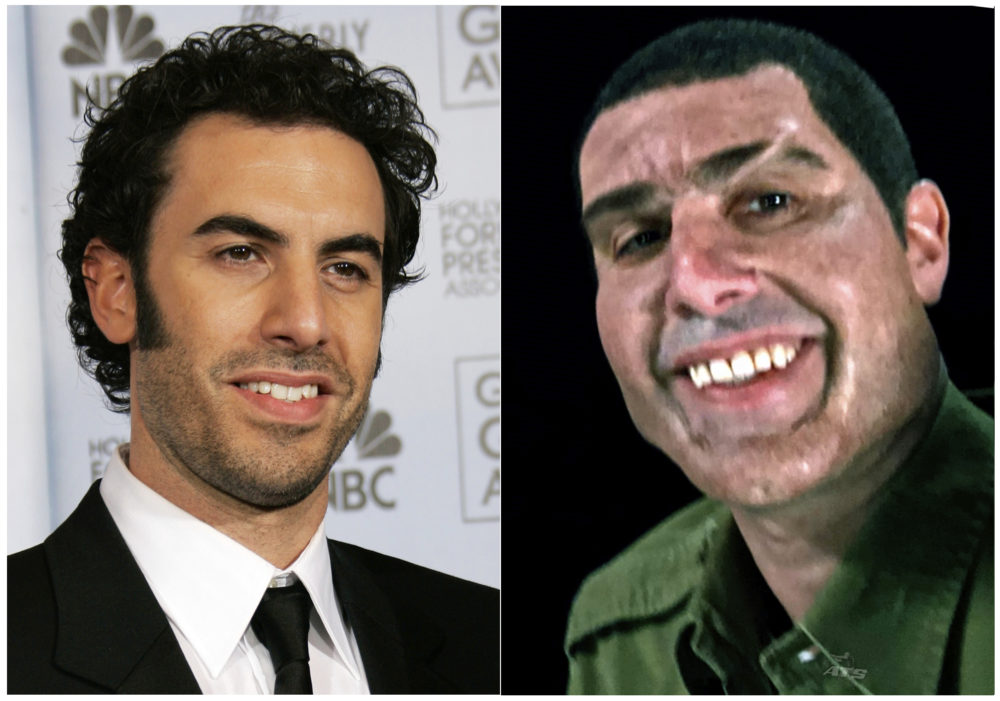 "This combination photo shows Sacha Baron Cohen at the 64th Annual Golden Globe Awards in Beverly Hills, Calif., on Jan. 15, 2007, left, and Cohen portraying retired Israeli Colonel Erran Morad in a still from the Showtime series, ""Who Is America?"" (AP Photo/Kevork Djansezian, left, and Showtime)"