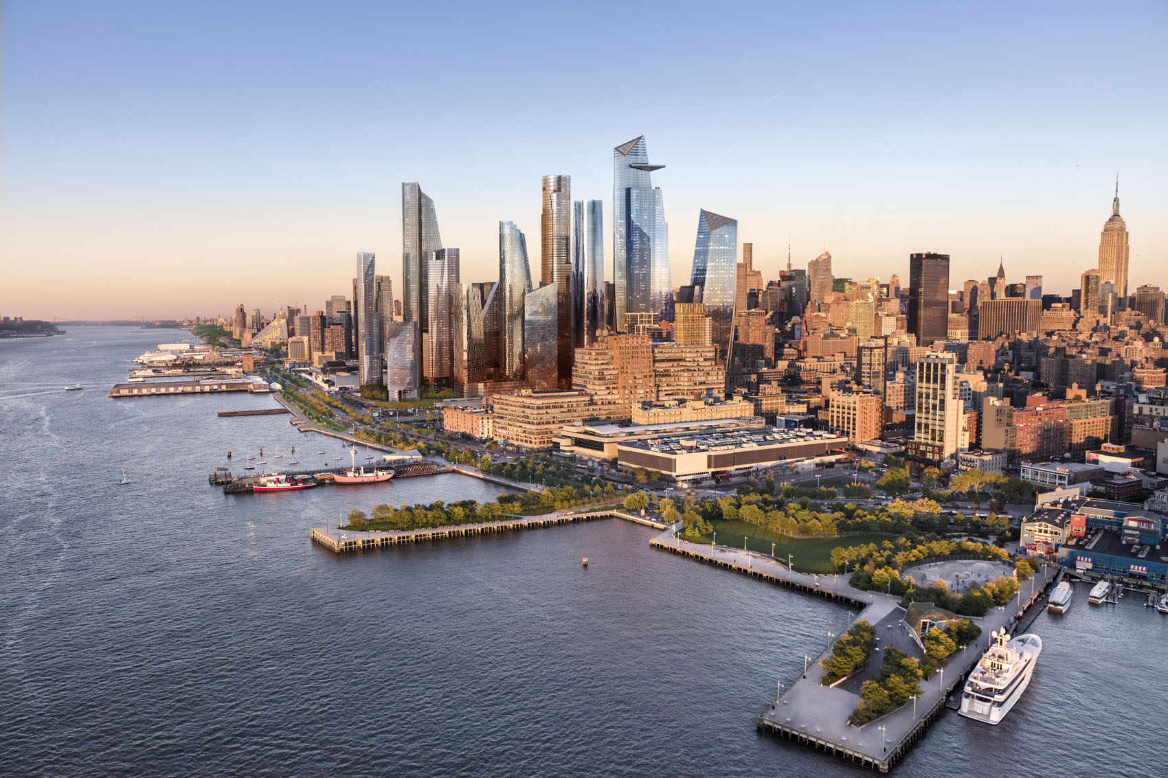 A rendering of Hudson Yards, viewed from the Hudson River. (Courtesy of Related-Oxford)