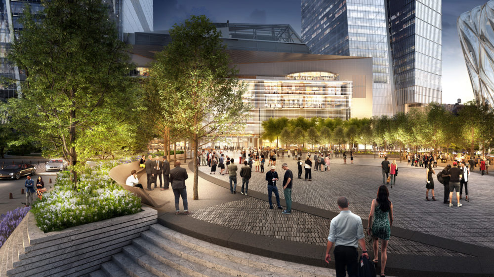 A rendering of Hudson Yards retail and public square. (Courtesy of Related-Oxford)