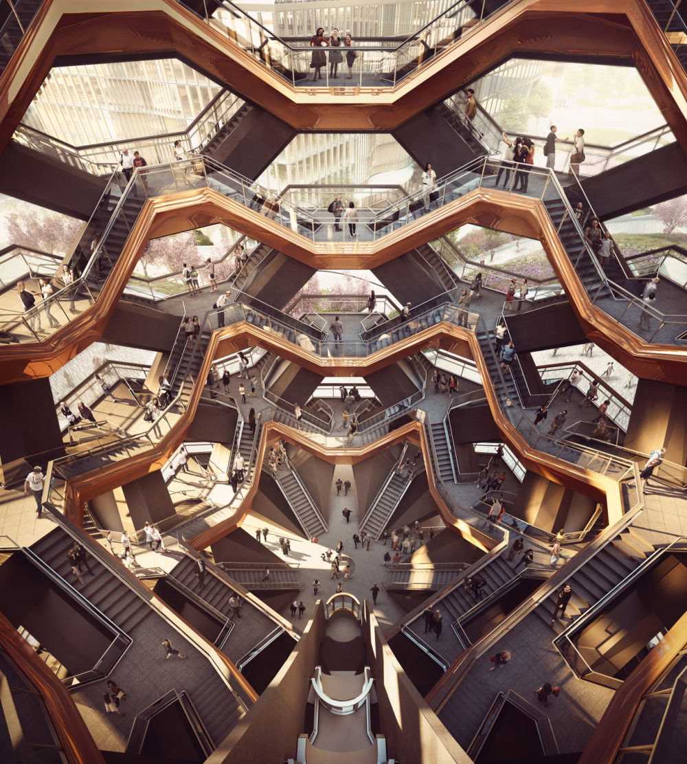 An interior view of the Vessel. (Courtesy of Forbes Massie-Heatherwick Studio)