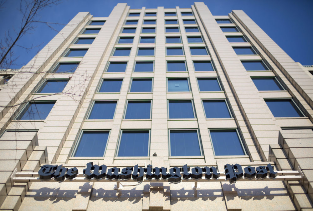 In this Dec. 11, 2015 file photo, the One Franklin Square Building in Washington, that houses the Washington Post newspaper. (Pablo Martinez Monsivais/AP)