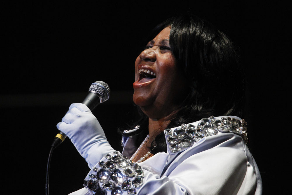 In this July 27, 2010 photo, Aretha Franklin performs at The Mann Center for the Performing Arts in Philadelphia. (Matt Rourke/AP)