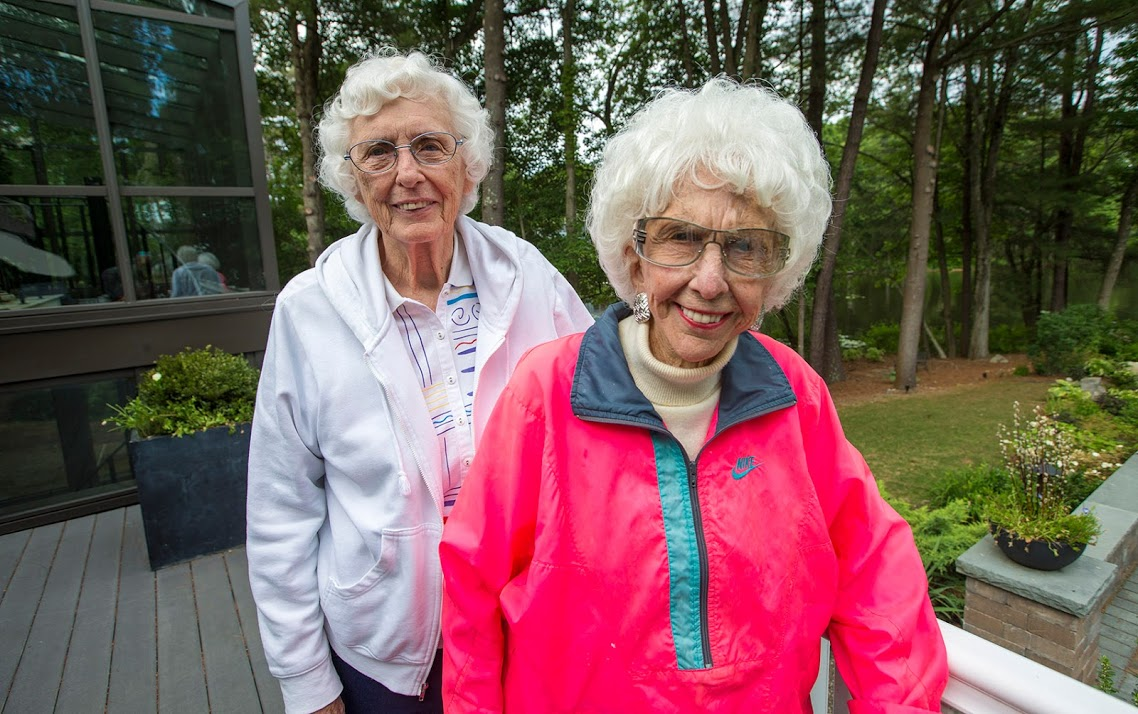 Former All-American Girls Professional Baseball League players Shirley Burkovich, left, and Maybelle Blair. (Jesse Costa/WBUR)
