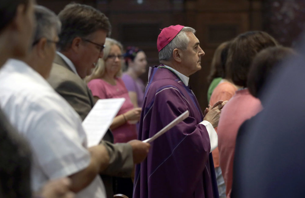"Bishop Ronald Gainer, of the Harrisburg Diocese, arrives to celebrate mass at the Cathedral Church of Saint Patrick in Harrisburg, Pa., Friday, Aug. 17, 2018. Gainer, who's named in a grand jury report on rampant sexual abuse by Roman Catholic clergy is celebrating a Mass of forgiveness, as the Vatican expresses ""shame and sorrow"" over the burgeoning scandal. (Matt Rourke/AP)"