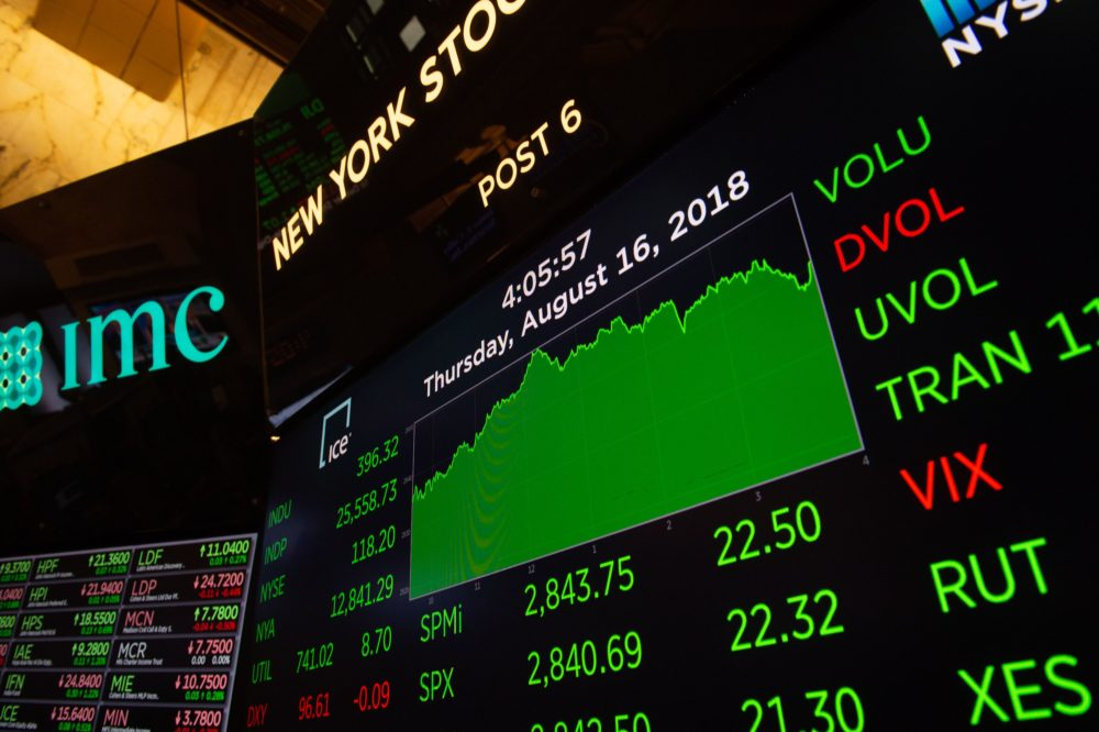 Traders work on the floor at the closing bell of the Dow Industrial Average at the New York Stock Exchange on Aug. 16, 2018 in New York. (Bryan R. Smith/AFP/Getty Images)