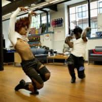 Dancers at Boston GLASS's Vogue Hour. (Robin Lubbock/WBUR)