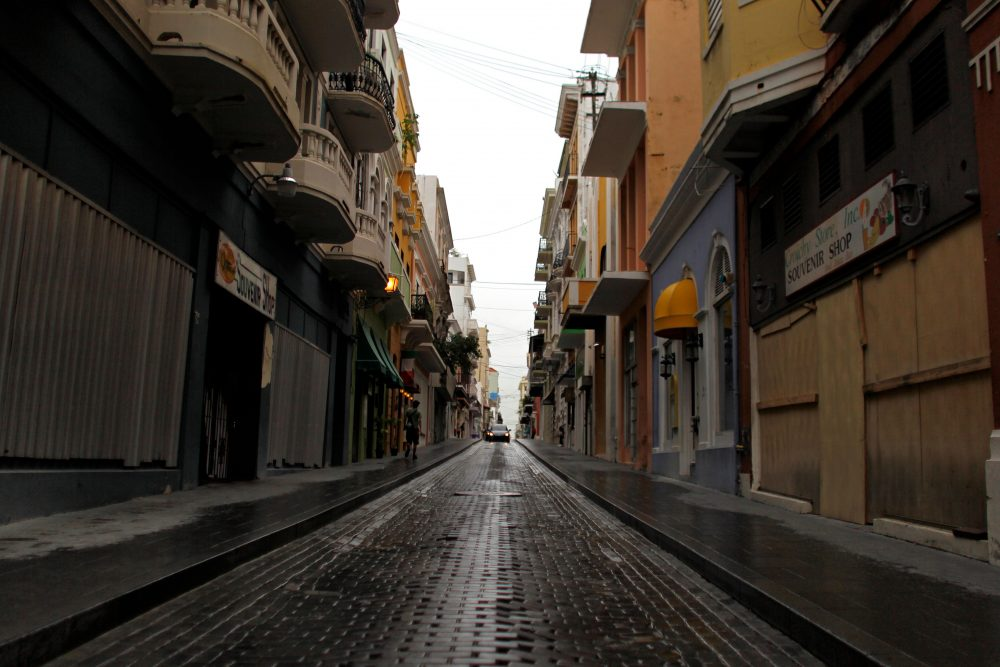 A usually crowded and busy street is seen empty in Old San Juan, Puerto Rico on Nov. 7, 2017, in the wake of Hurricane Maria. (Ricardo Arduengo/AFP/Getty Images)