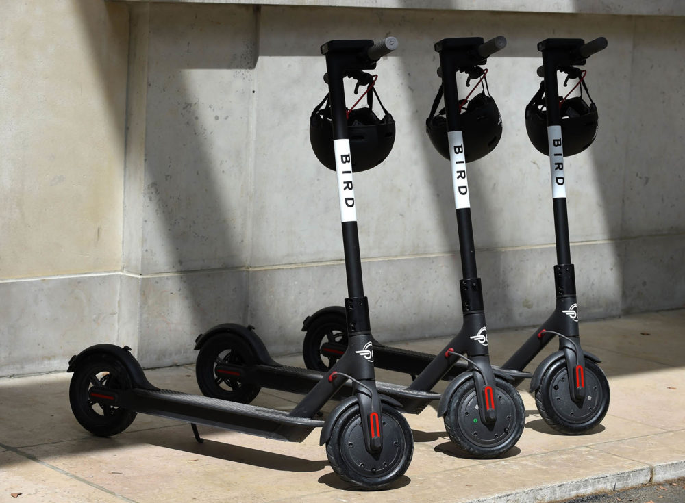 A picture taken in Paris on July 31, 2018 shows electric scooters of US start-up Bird. - Bird will launch its sharing service in Paris on August 1, 2018. (Photo by ERIC PIERMONT / AFP)        (Photo credit should read ERIC PIERMONT/AFP/Getty Images)