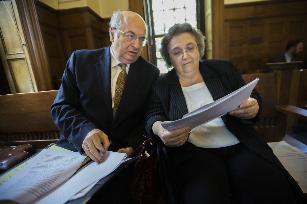 Dr. Nataly Minkina and her husband, Leonid Winestein, go through documents and discuss her legal arguments before a July hearing in Norfolk County Superior Court. (Jesse Costa/WBUR)