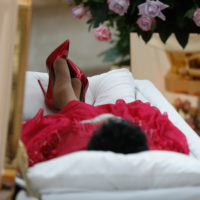 The body of Aretha Franklin lies in repose at the Charles H. Wright Museum of African American History on Aug. 28, 2018 in Detroit. (Paul Sancya-Pool/Getty Images)