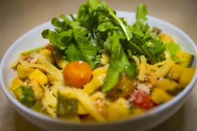 Harvest linguine with roasted tomatoes, zucchini and arugula. (Jesse Costa/WBUR)