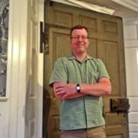 Patrick Gabridge with Hancock Door. (Courtesy: Old State House)