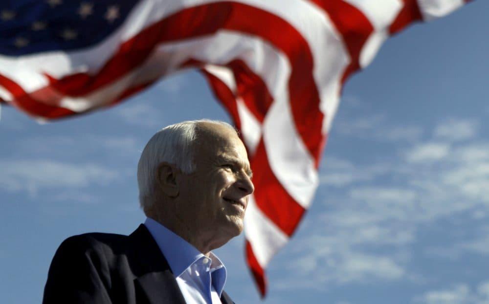 Sen. John McCain, R-Ariz. speaks at a rally outside Raymond James Stadium in Tampa, Fla., Monday, Nov. 3, 2008. (Carolyn Kaster/AP