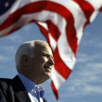 Sen. John McCain, R-Ariz. speaks at a rally outside Raymond James Stadium in Tampa, Fla., Monday, Nov. 3, 2008. (Carolyn Kaster/AP