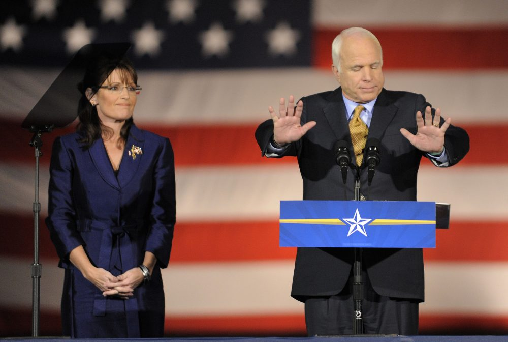 Sen. John McCain, right, is joined by Gov. Sarah Palin, R-Alaska, during a rally with supporters on election night in Phoenix, Tuesday, Nov. 4, 2008. (Chris Carlson/AP)