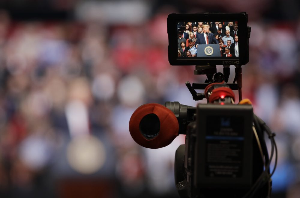 A camera is focused on President Donald Trump as he speaks at a rally Wednesday, March 15, 2017, in Nashville, Tenn. (Mark Humphrey/AP)