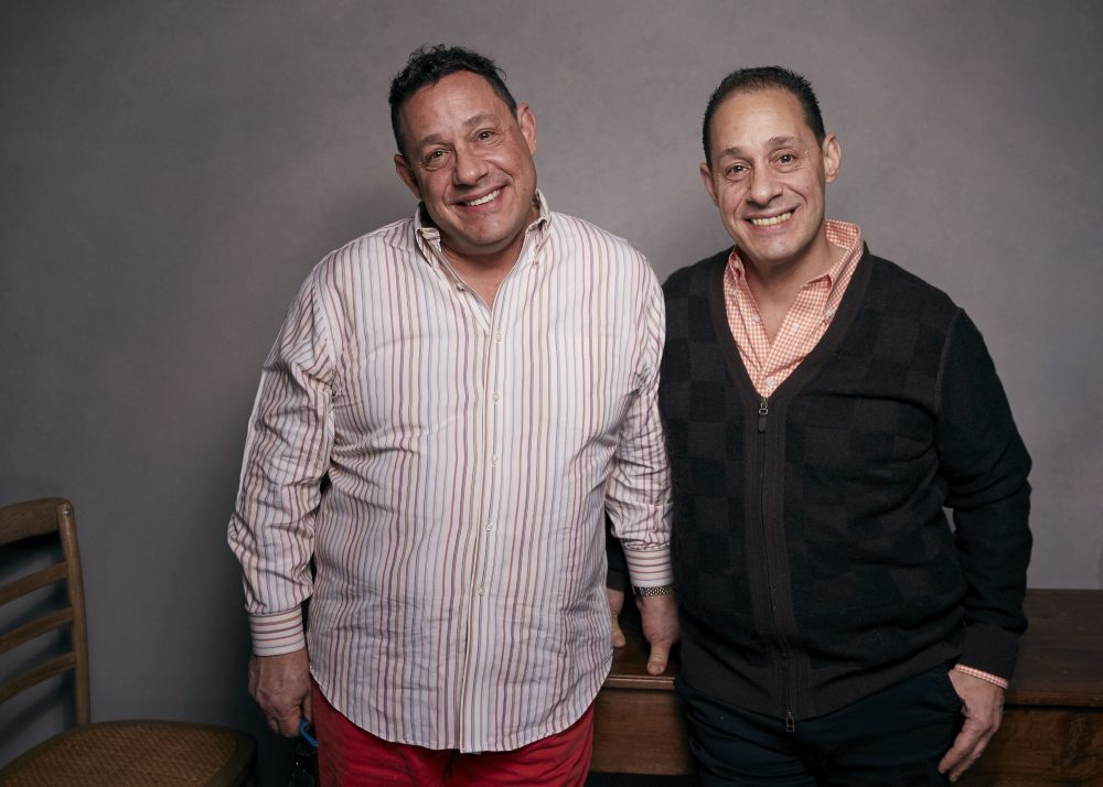 "David Kellman, left, and Robert Shafran pose for a portrait to promote the film, ""Three Identical Strangers"", at the Music Lodge during the Sundance Film Festival on Friday, Jan. 19, 2018, in Park City, Utah. (Taylor Jewell/Invision/AP)"