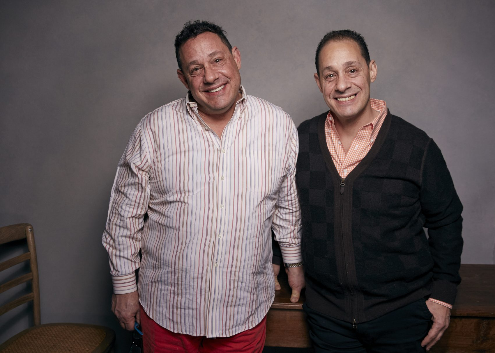 """David Kellman, left, and Robert Shafran pose for a portrait to promote the film, """"Three Identical Strangers"""", at the Music Lodge during the Sundance Film Festival on Friday, Jan. 19, 2018, in Park City, Utah. (Taylor Jewell/Invision/AP)"""