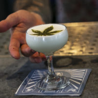 Beverage director Maxwell Reis serves a drink containing Cannabidiol CBD extract with a marijuana leaf motif at the Gracias Madre restaurant in West Hollywood, Calif. (Damian Dovarganes/AP)