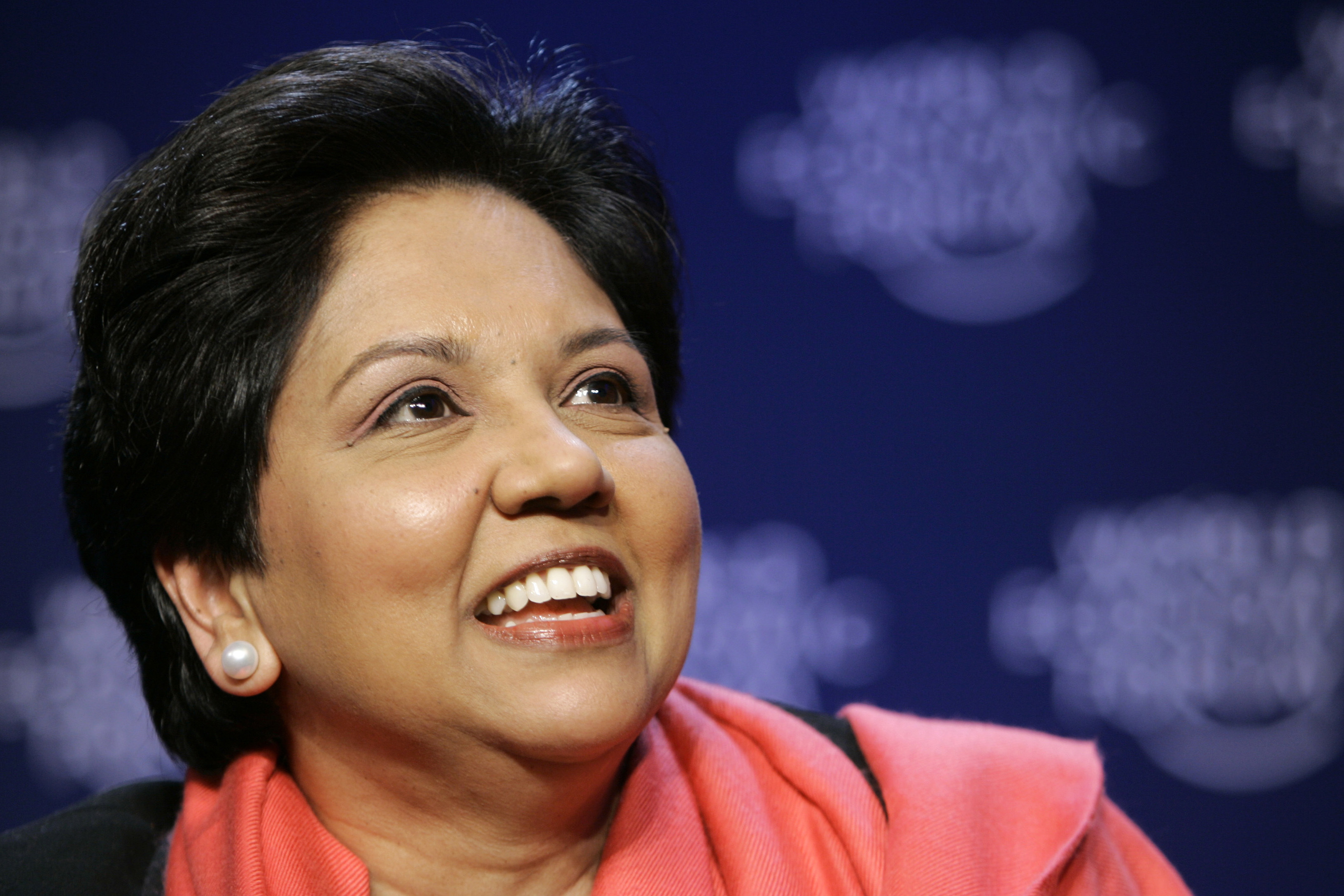 In this Jan. 27, 2008, file photo, Chairman and CEO of PepsiCo, USA, Indra Nooyi smiles during the closing session at the World Economic Forum in Davos, Switzerland. With Nooyi exiting PepsiCo as its longtime chief executive, the circle of CEOs in the S&P 500 is losing one of its highest profile women. Nooyi has been with PepsiCo Inc. for 24 years and held the top job for 12. (Peter Dejong, File/AP)