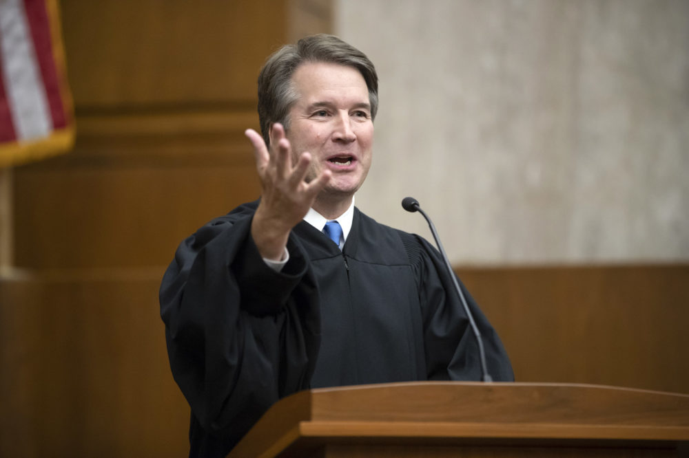 President Donald Trump's Supreme Court nominee, Judge Brett Kavanaugh, speaks as he officiates at the swearing-in of Judge Britt Grant to take a seat on the U.S. Court of Appeals for the Eleventh Circuit, Tuesday, Aug. 7, 2018, at the U.S. District Courthouse in Washington. (J. Scott Applewhite/AP)