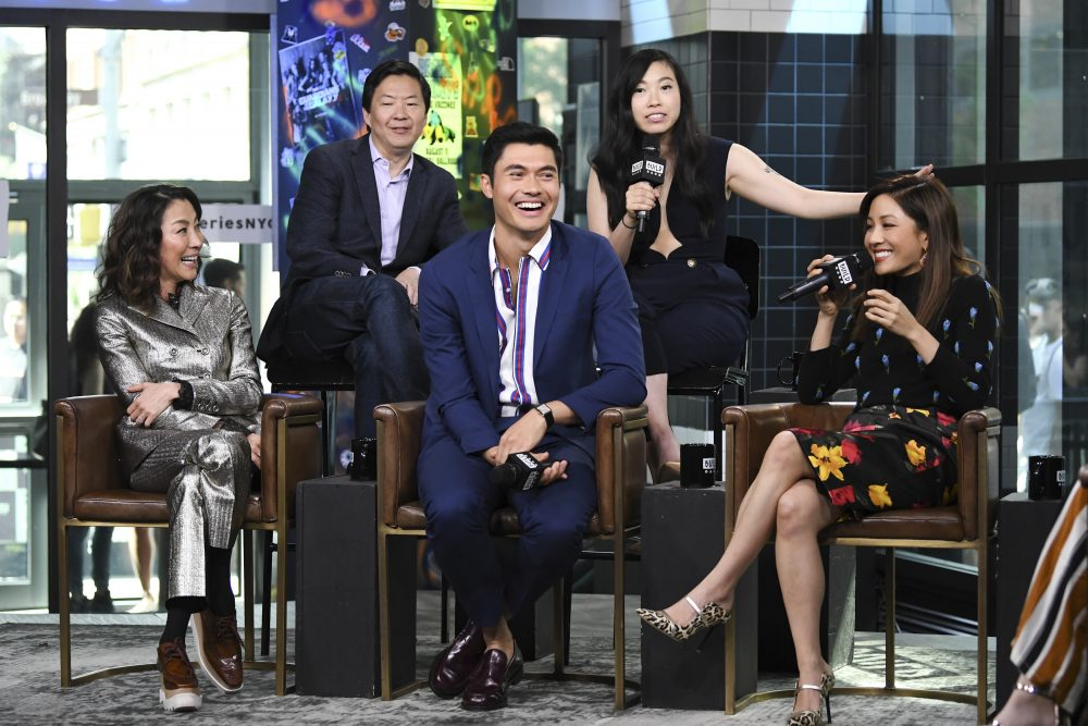 """Actors Michelle Yeoh, left, Ken Jeong, Henry Golding, Awkwafina and Constance Wu participate in the BUILD Speaker Series to discuss the film """"Crazy Rich Asians"""" at AOL Studios on Tuesday, Aug. 14, 2018, in New York. (Photo by Evan Agostini/Invision/AP)"""