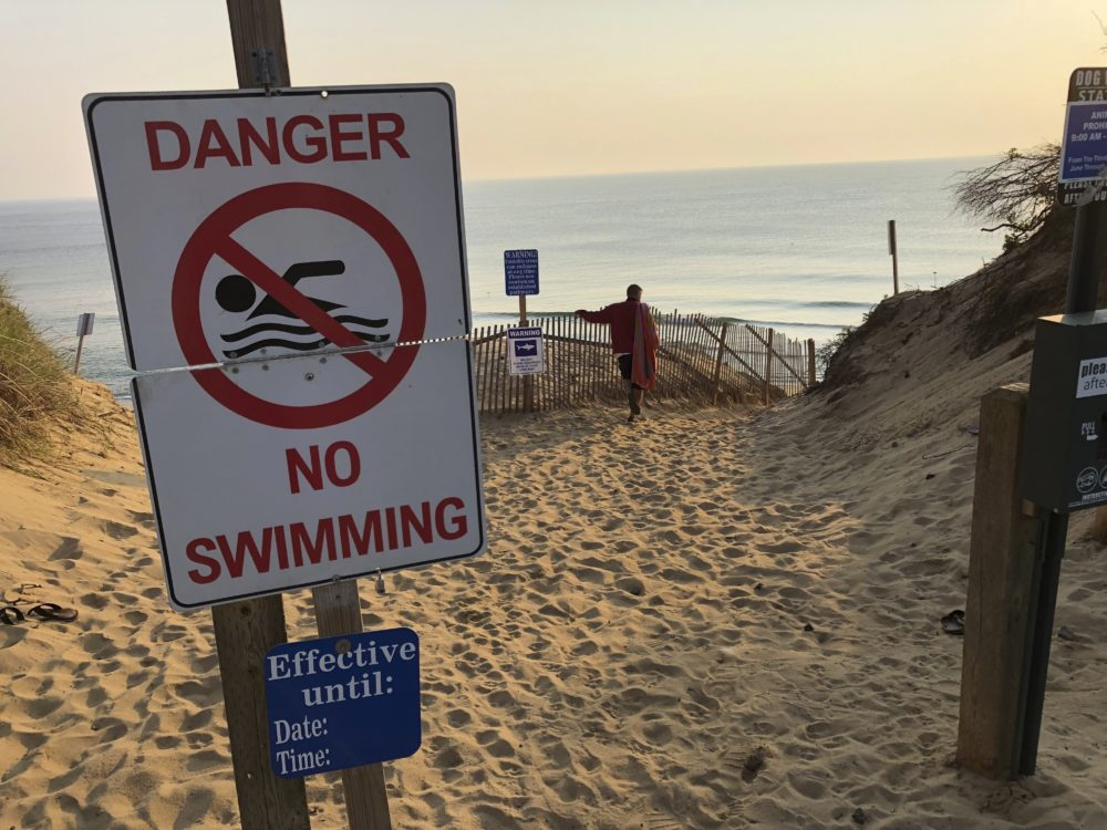 Authorities closed Long Nook Beach in Truro to swimmers after a man was attacked by a shark on Wednesday — the first attack on a person in Massachusetts since 2012. The victim survived the attack and was airlifted to a Boston hospital. (William J. Kole/AP)