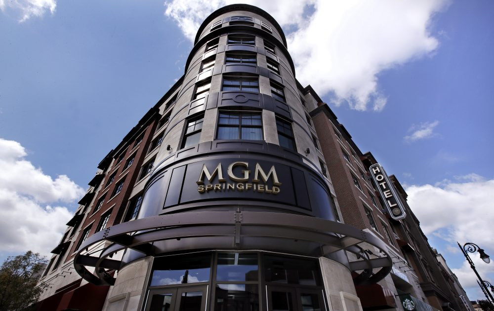 The MGM Springfield casino's front facade on Main Street in Springfield (Charles Krupa/AP)
