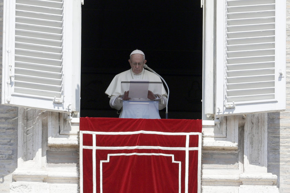 """In this Sunday, Aug. 19, 2018 file photo, Pope Francis prays for the victims of the Kerala floods during the Angelus noon prayer in St. Peter's Square, at the Vatican. Pope Francis has issued a letter to Catholics around the world condemning the """"crime"""" of priestly sexual abuse and cover-up and demanding accountability, in response to new revelations in the United States of decades of misconduct by the Catholic Church. (Gregorio Borgia/AP)"""
