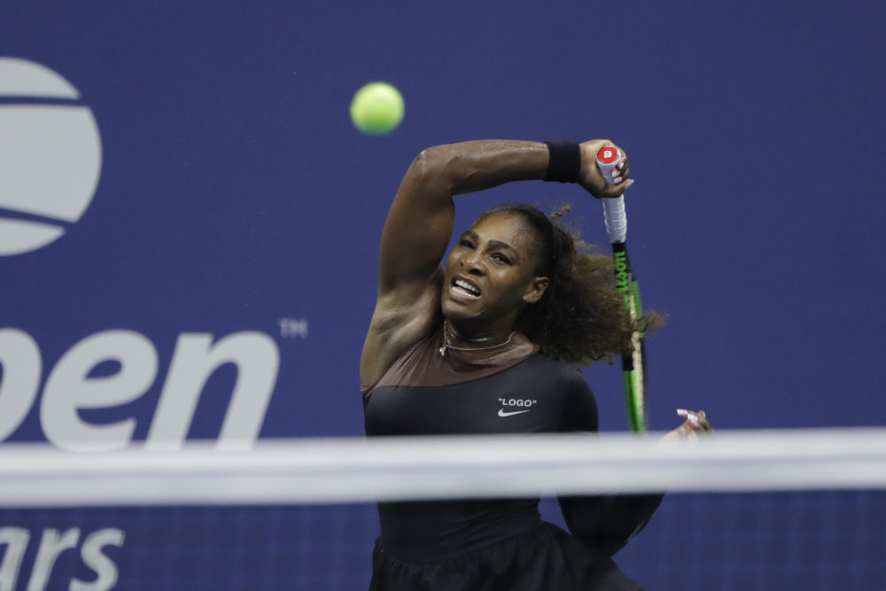 Serena Williams, of the United States, returns a shot to Magda Linette, of Poland, during the first round of the U.S. Open tennis tournament, Monday, Aug. 27, 2018, in New York. (Jason DeCrow/AP)