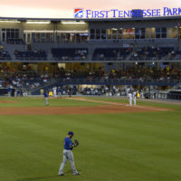 While there has been some surrounding development since First Tennessee Park opened in Nashville in 2015, planned projects have moved more slowly than expected. Here the minor league ballpark is seen in 2015. (Mark Zaleski/AP)