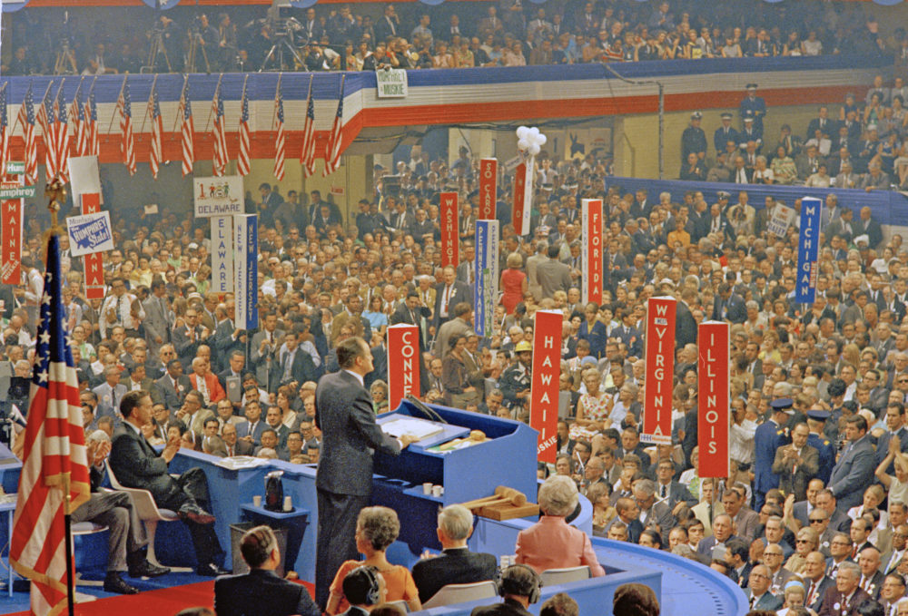 Hubert H. Humphrey speaks to the crowd during the Democratic National Convention in Chicago, Ill., Aug. 29, 1968. (AP Photo)