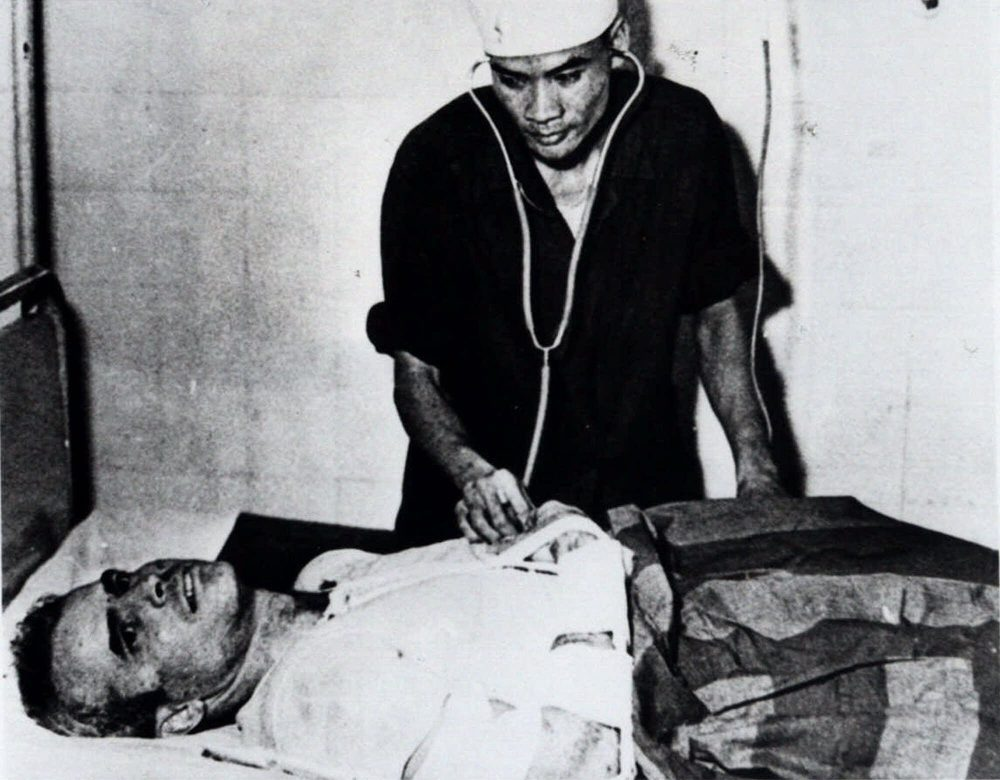 John McCain is administered to in a Hanoi, Vietnam hospital as a prisoner of war in the fall of 1967. (AP)